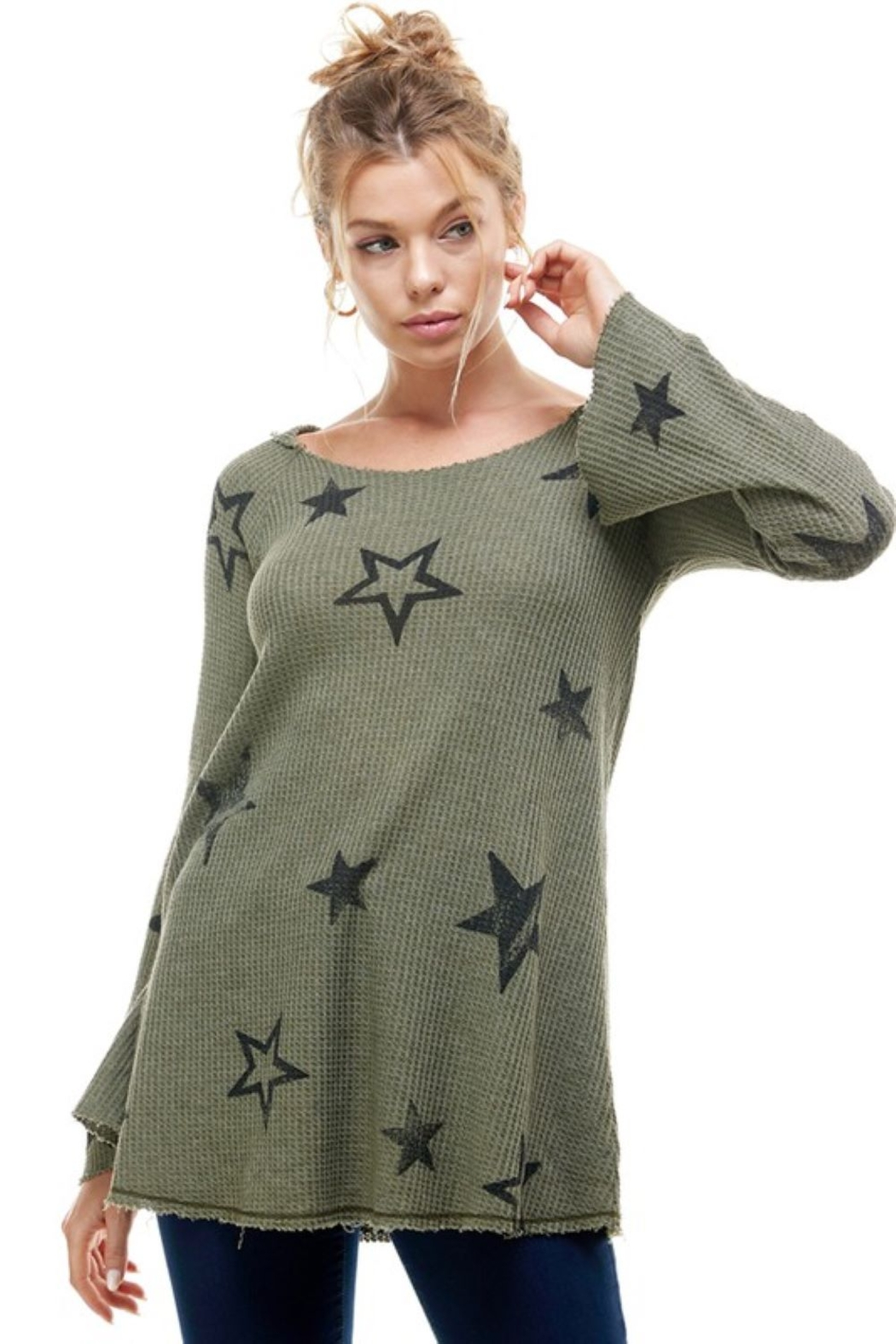 T Party Waffle Knit Star Print Hoodie - Main Image