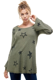 T Party Waffle Knit Star Print Hoodie - Front cropped