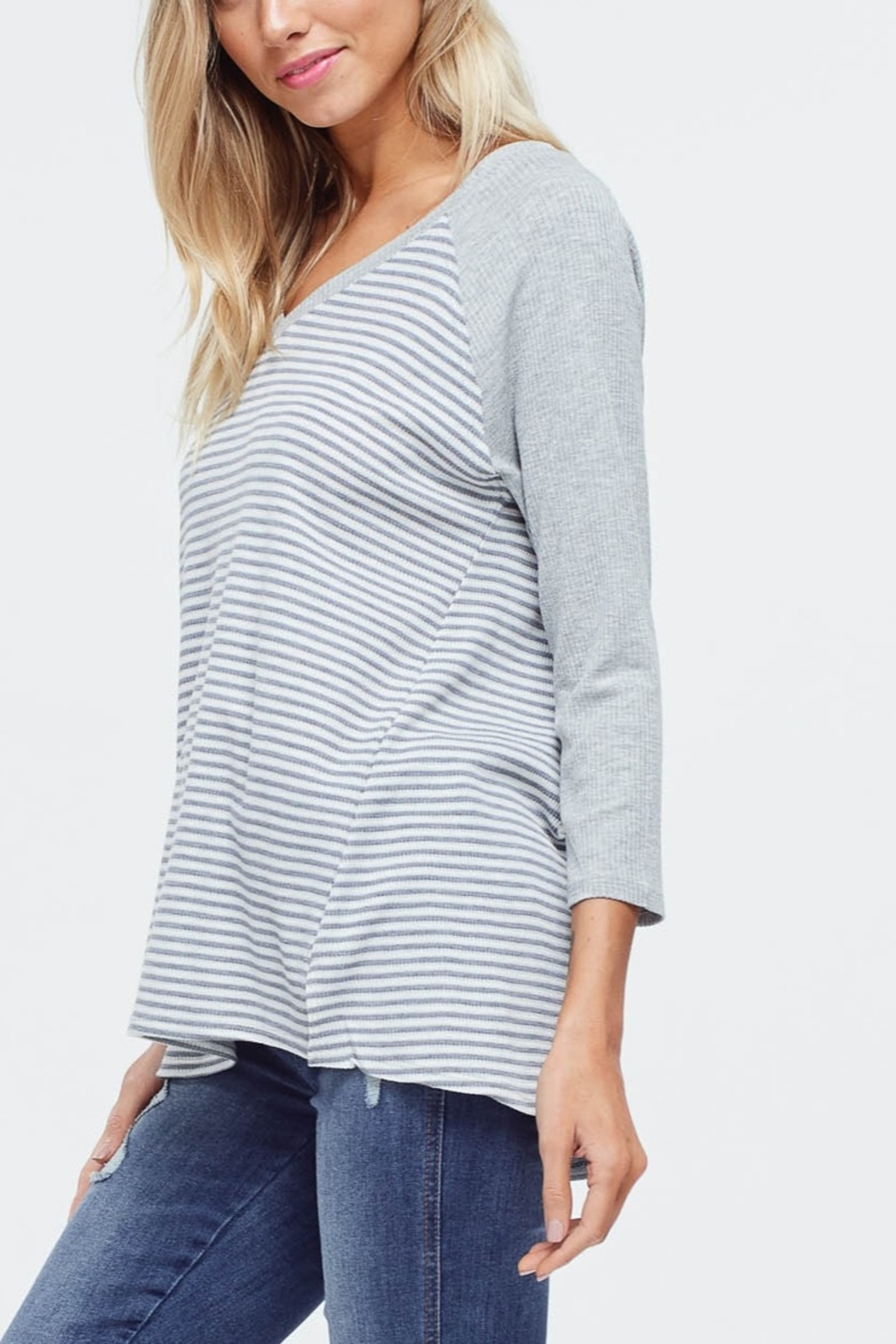 Lyn-Maree's  Waffle Knit Stripe Top - Main Image