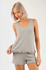 Very J  Waffle Knit tank top - Front cropped