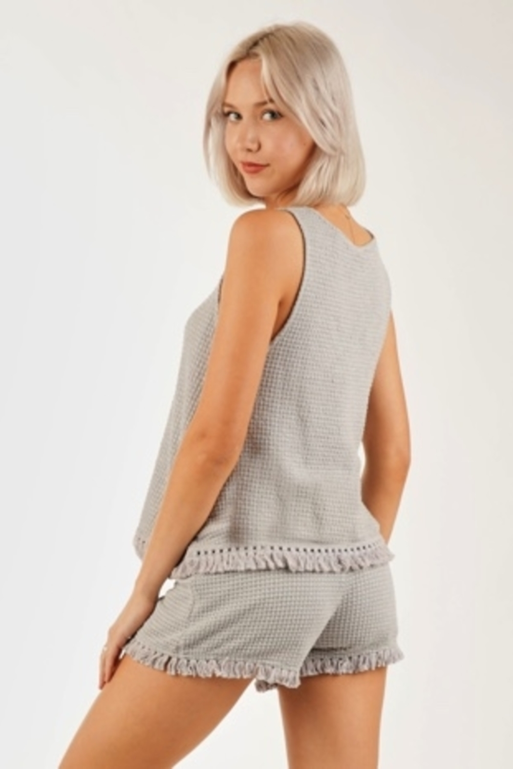 Very J  Waffle Knit tank top - Front Full Image