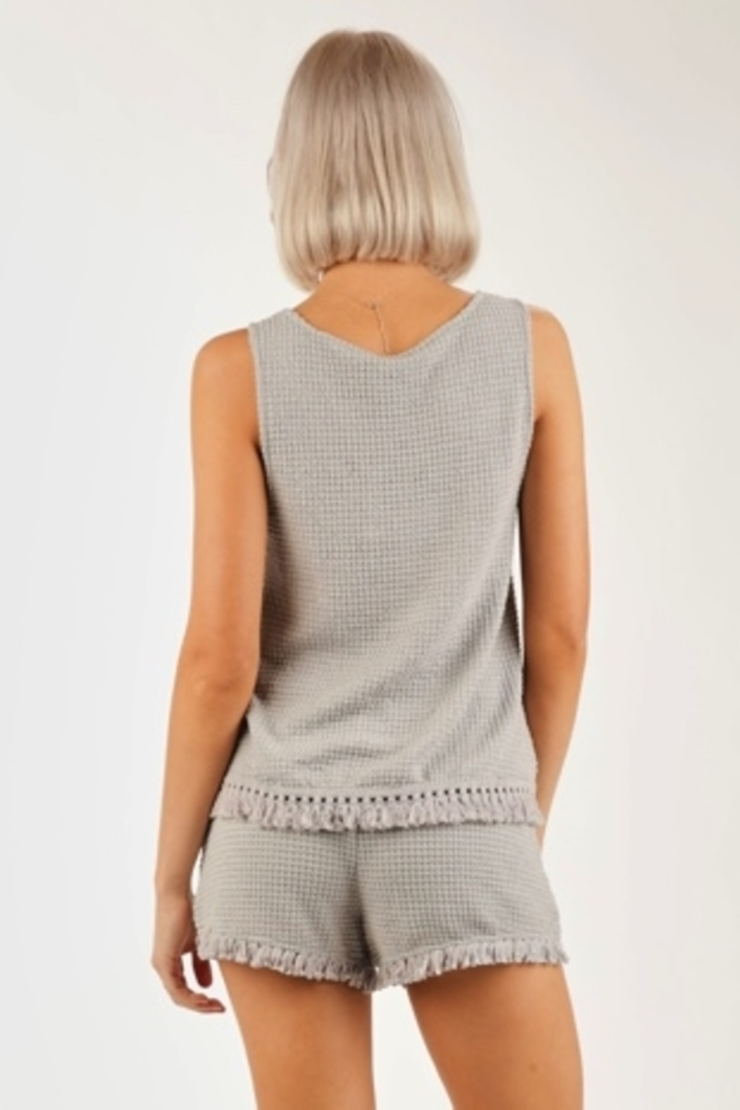 Very J  Waffle Knit tank top - Back Cropped Image