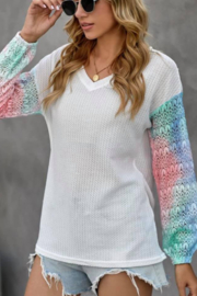 Shewin Waffle Knit Tie Dye Sleeve VNeck Top - Product Mini Image