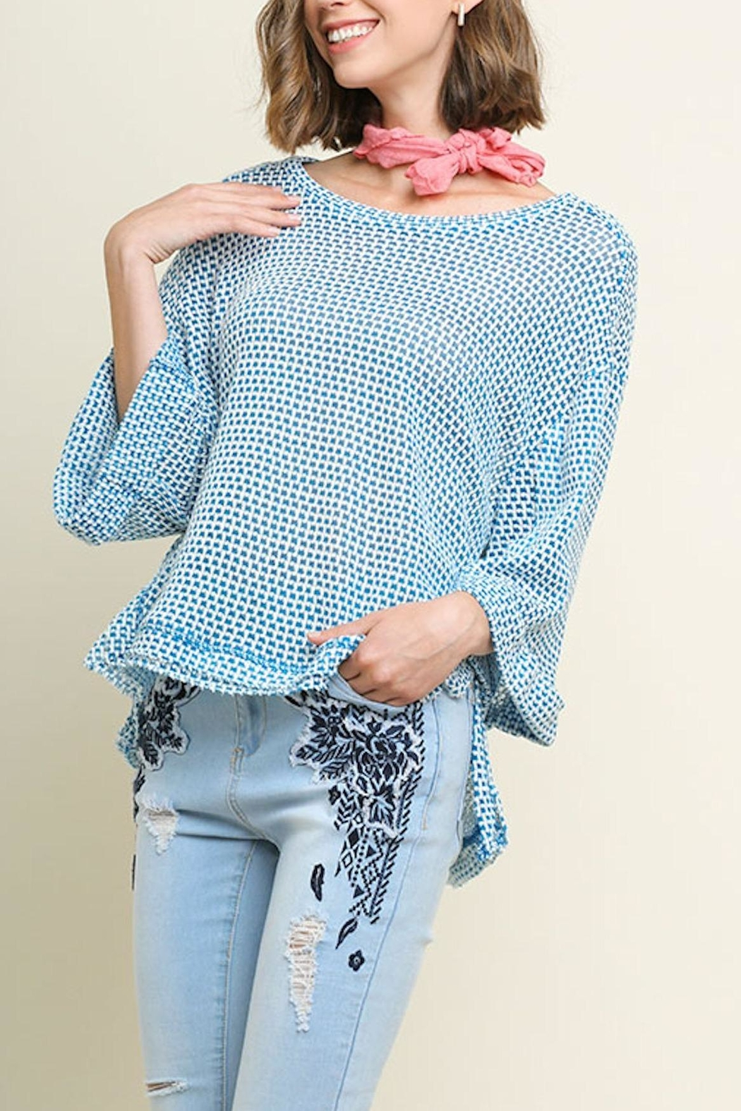Umgee USA High-Low Waffle-Knit Top - Front Cropped Image