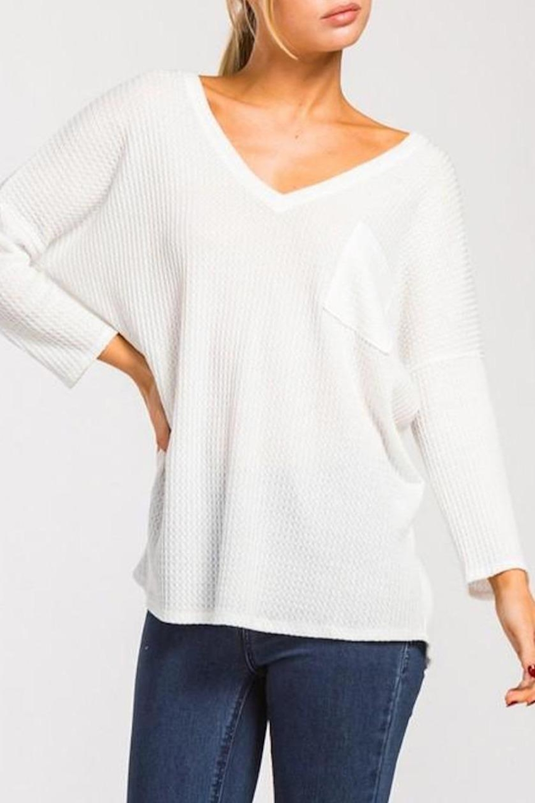 Cherish Waffle Knit Top - Front Cropped Image