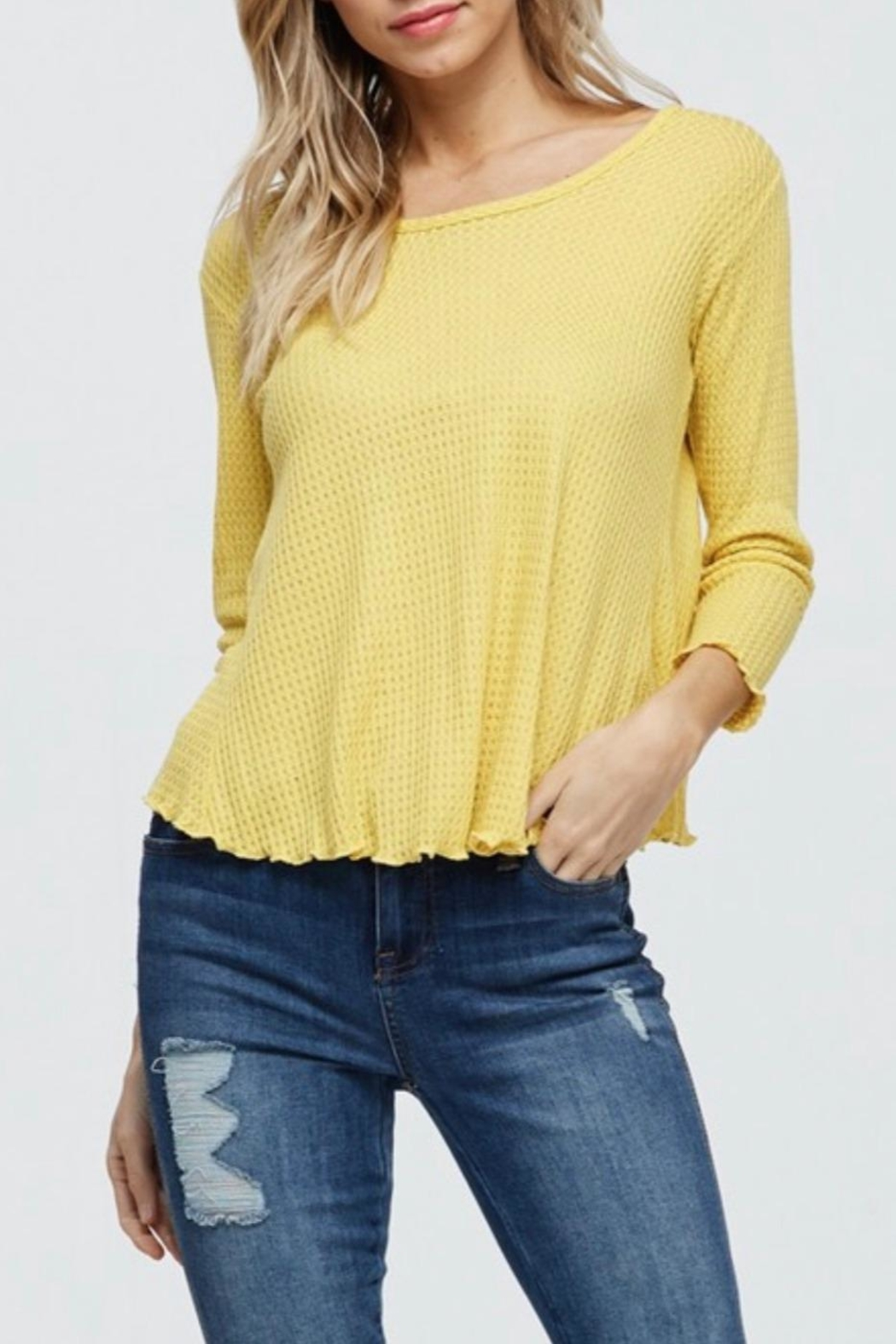 Jolie Waffle Knit Top - Front Full Image