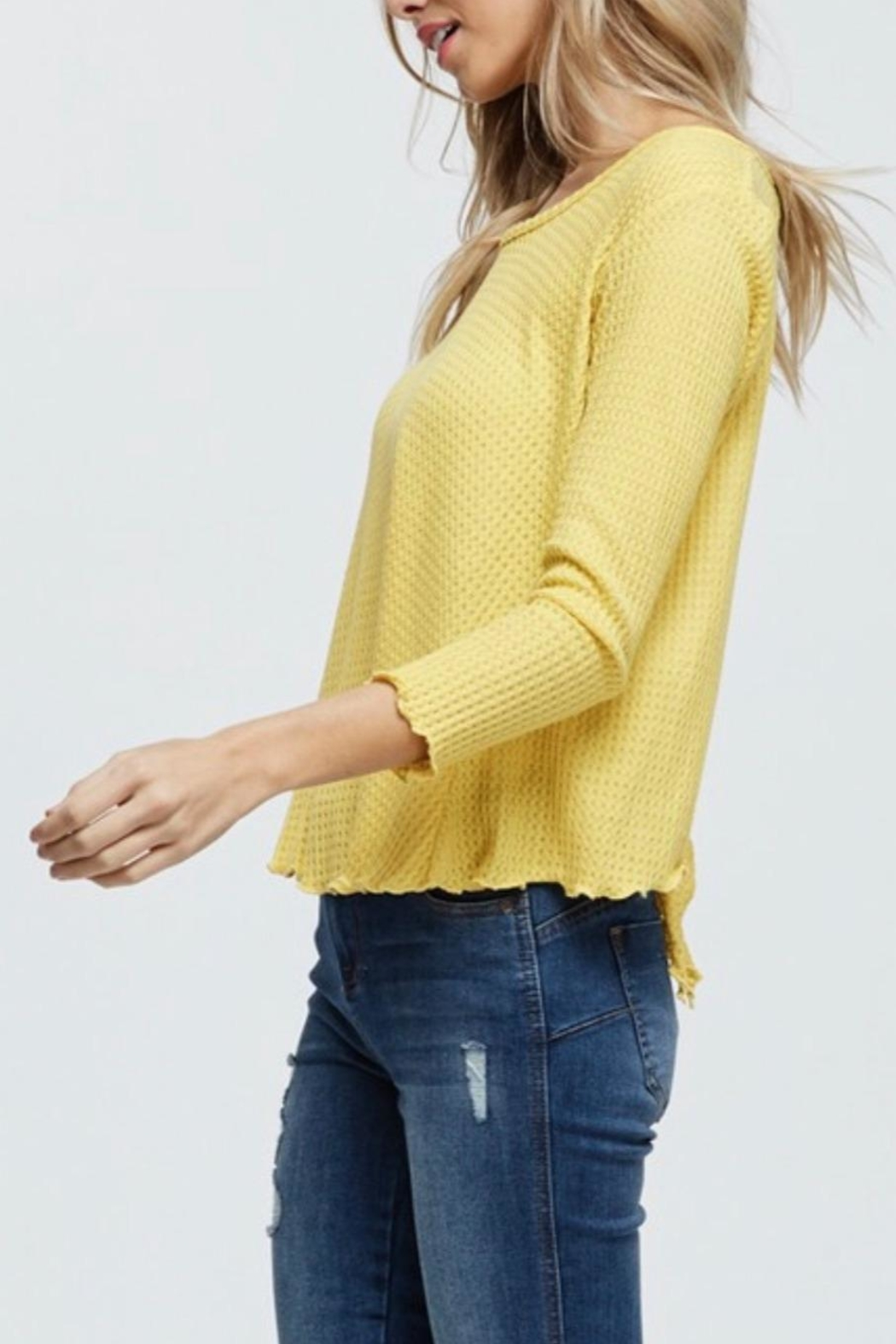 Jolie Waffle Knit Top - Side Cropped Image