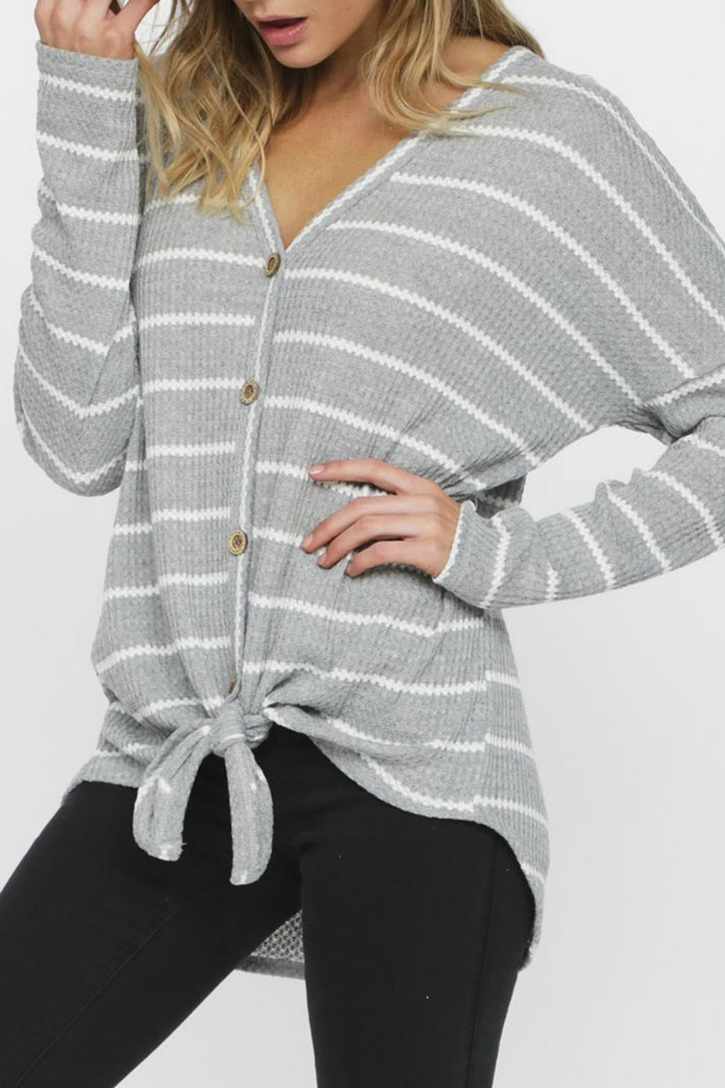 Pretty Little Things Waffle Knit Top - Front Cropped Image