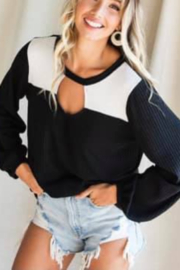 Bibi Waffle Knit Top with Cut Out - Product Mini Image