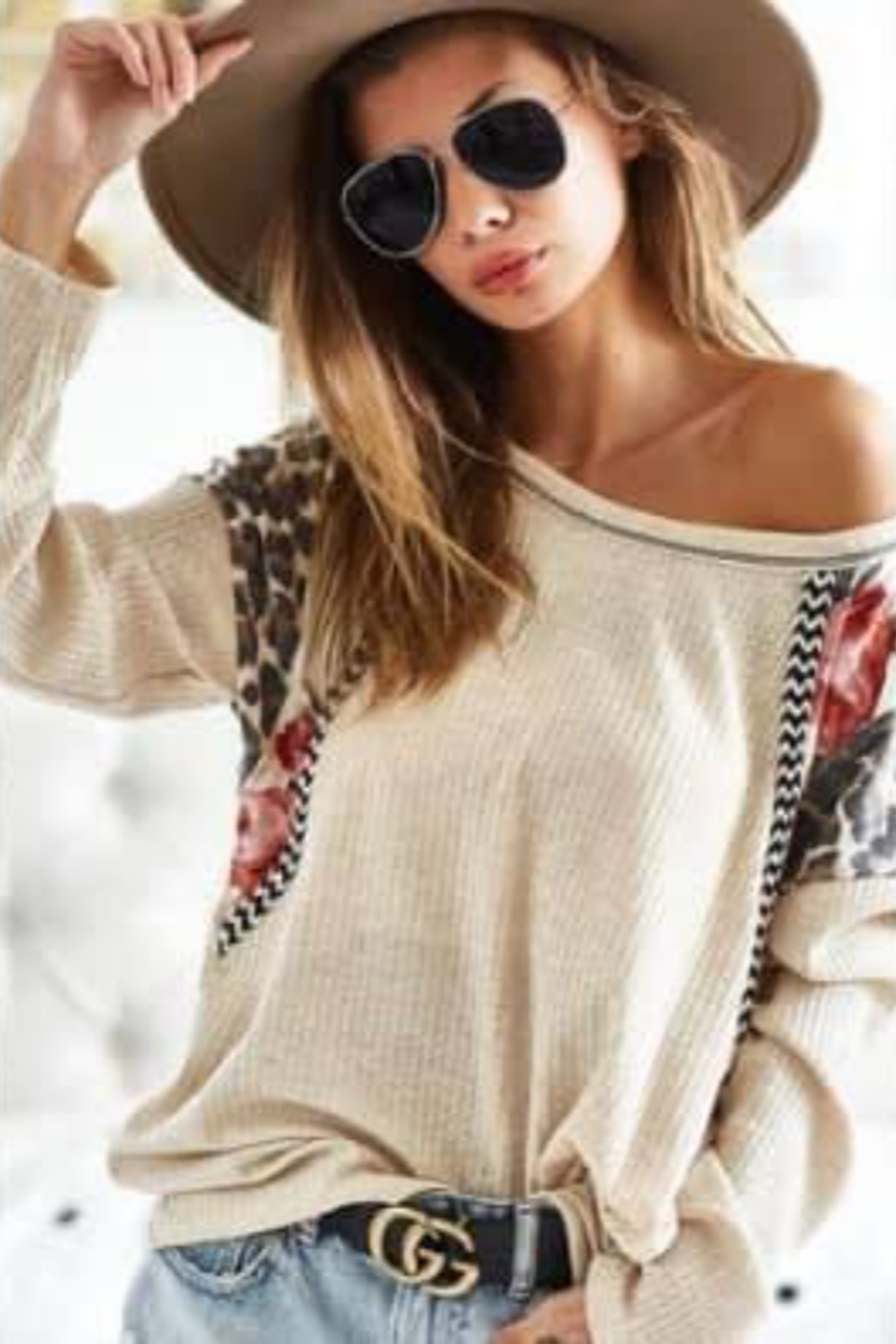 Bibi Waffle Knit Top with Floral Detail Design - Main Image