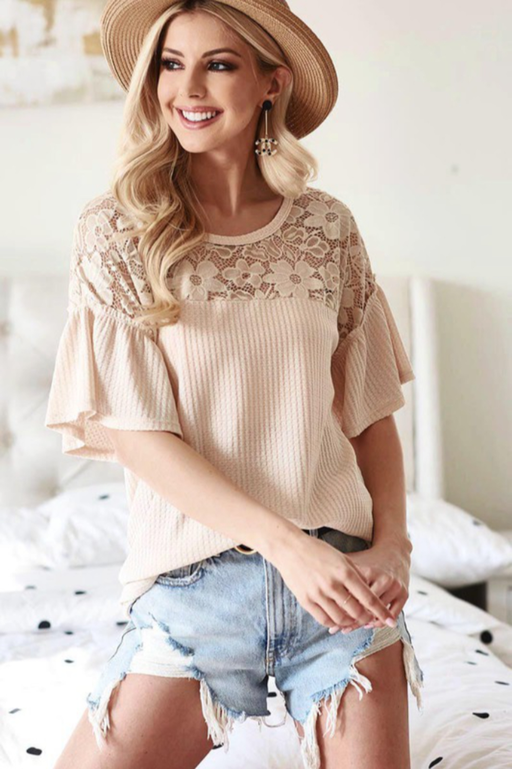 Bibi Waffle Knit Top with Lace Yolk and Ruffled Sleeve - Side Cropped Image