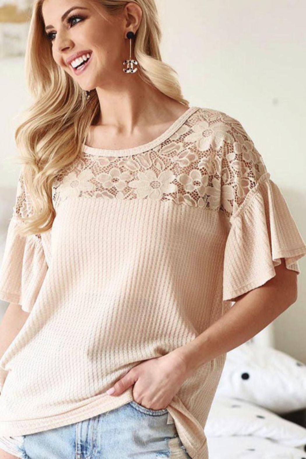 Bibi Waffle Knit Top with Lace Yolk and Ruffled Sleeve - Front Full Image