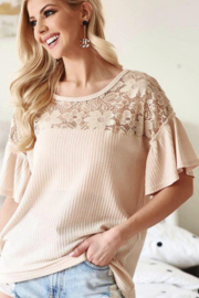Bibi Waffle Knit Top with Lace Yolk and Ruffled Sleeve - Front full body