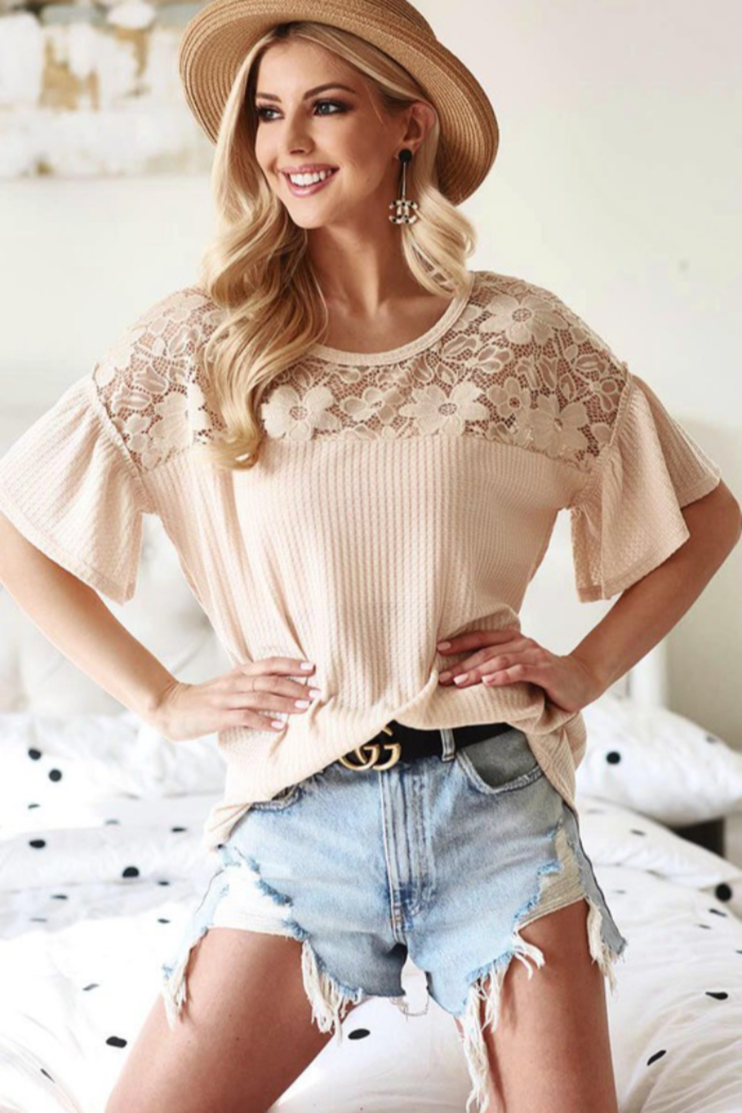 Bibi Waffle Knit Top with Lace Yolk and Ruffled Sleeve - Front Cropped Image