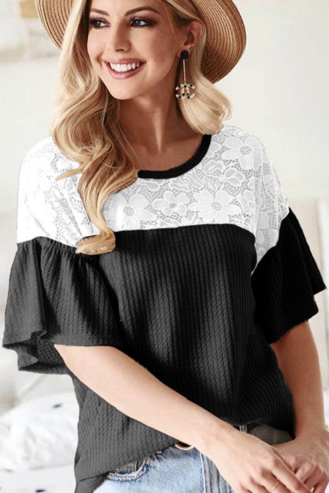 Bibi Waffle Knit Top with Lace Yolk and Ruffled Sleeve - Main Image
