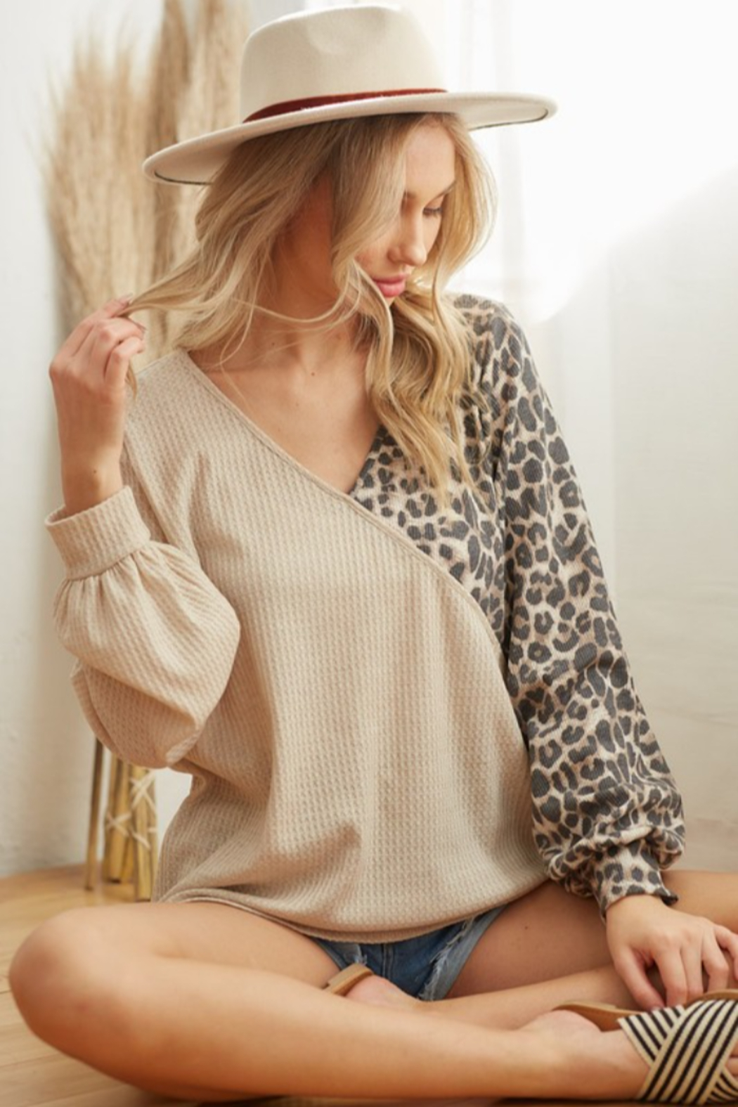 Bibi Waffle Knit Top with Leopard Detail - Side Cropped Image