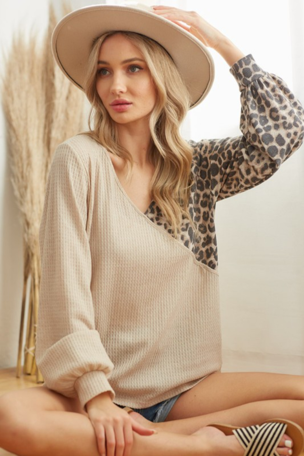 Bibi Waffle Knit Top with Leopard Detail - Main Image