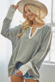 Bibi Waffle Knit Top with Thumb Hole Cuff - Front cropped