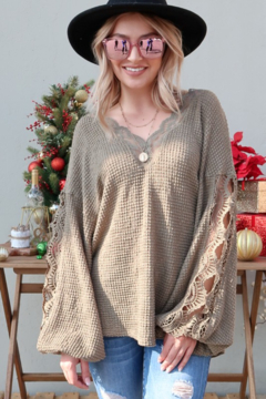 And the Why Waffle Knit VNeck Lace Detail Top - Product List Image