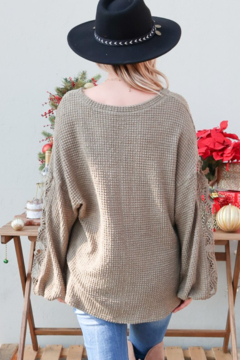 And the Why Waffle Knit VNeck Lace Detail Top - Alternate List Image