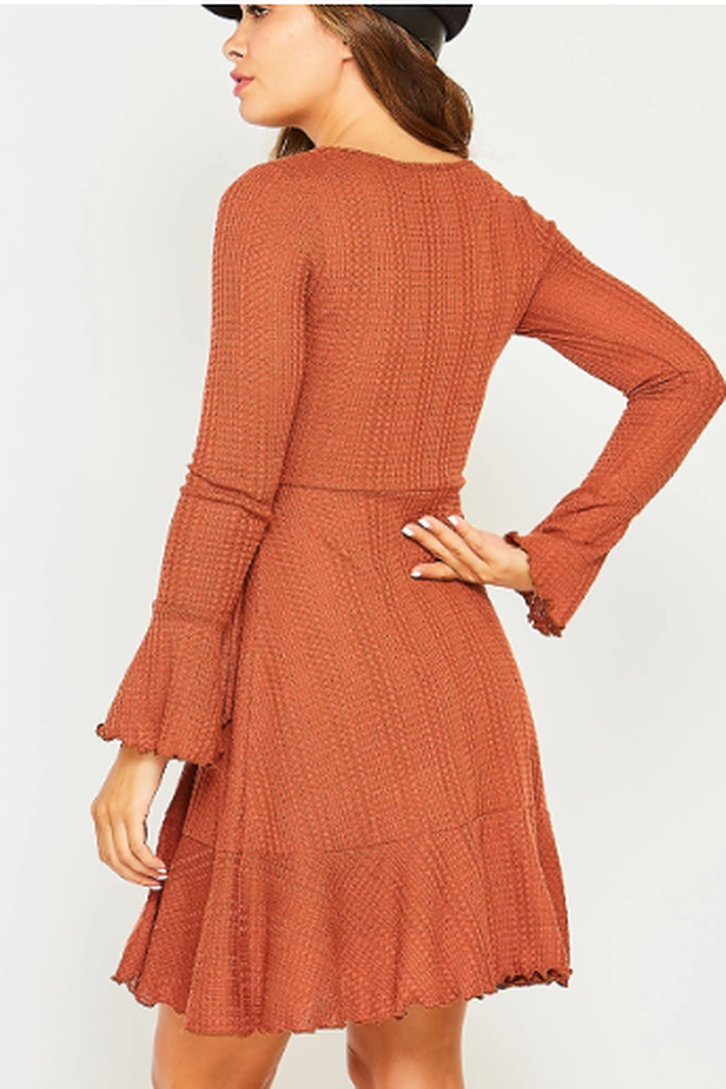 Peach Love California Waffle Knit Wrap Dress - Front Full Image