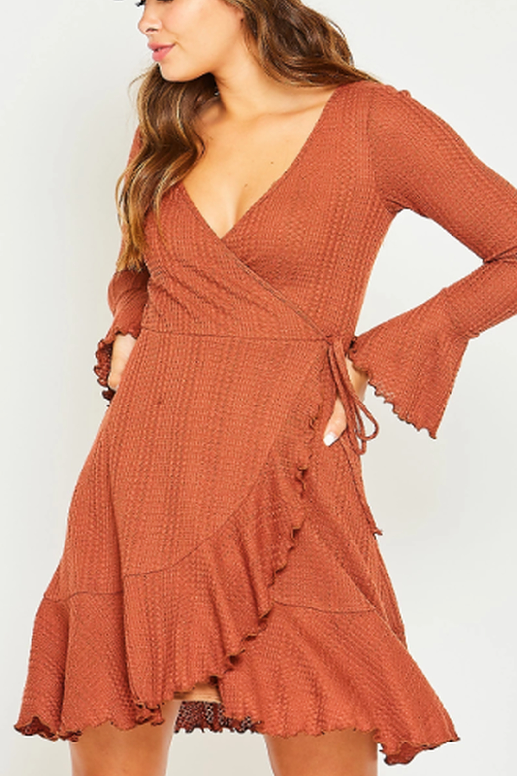 Peach Love California Waffle Knit Wrap Dress - Main Image
