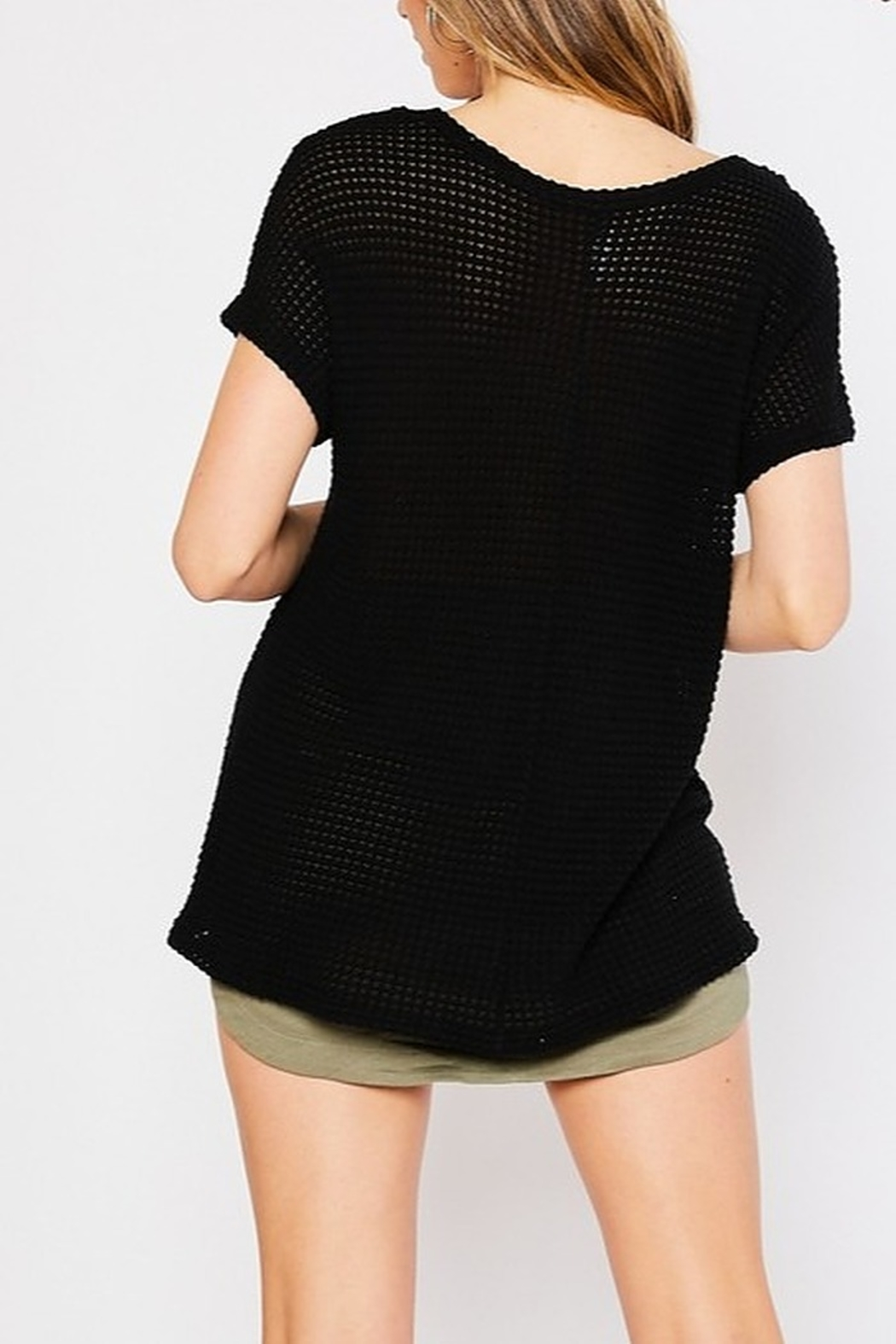 Mittoshop Waffle Scoop Neck Short Sleeve Top - Side Cropped Image