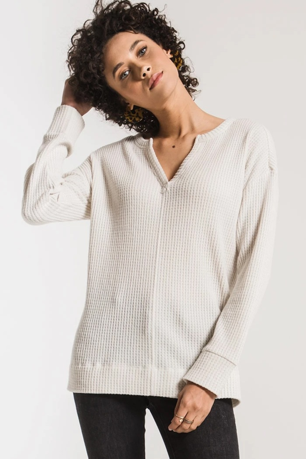 z supply Waffle Split Neck Thermal - Front Full Image