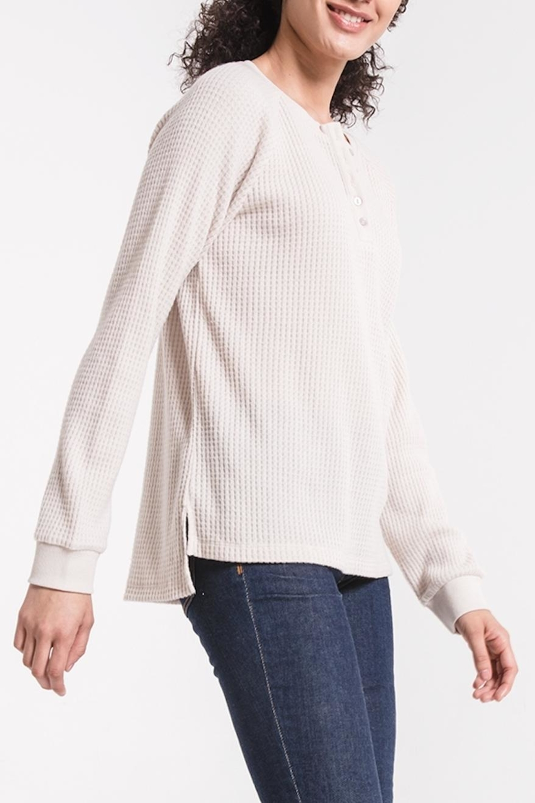 z supply Waffle Thermal Henley - Front Full Image