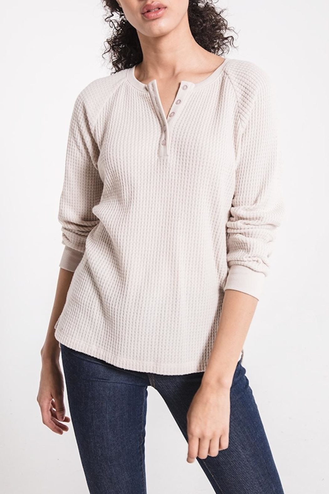 z supply Waffle Thermal Henley - Side Cropped Image