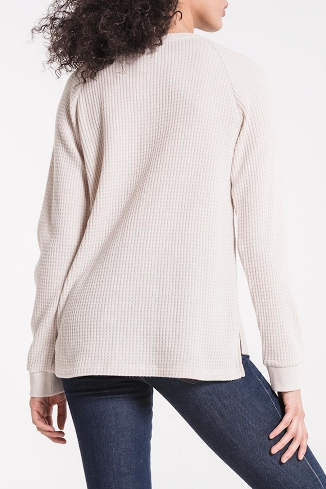 z supply Waffle Thermal Henley - Back Cropped Image