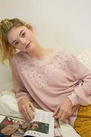 Listicle Waffle Top with Lace Detail - Front cropped