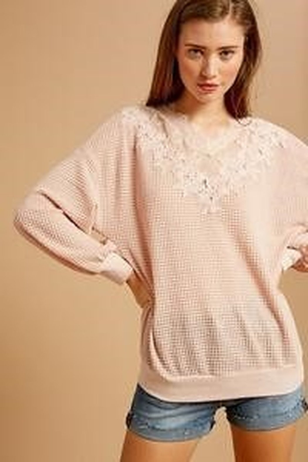 Listicle Waffle Top with Lace Detail - Front Full Image