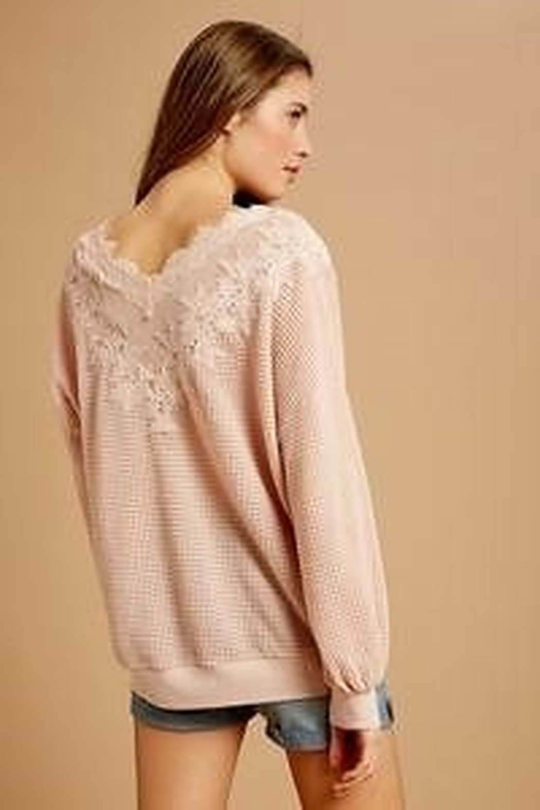 Listicle Waffle Top with Lace Detail - Side Cropped Image