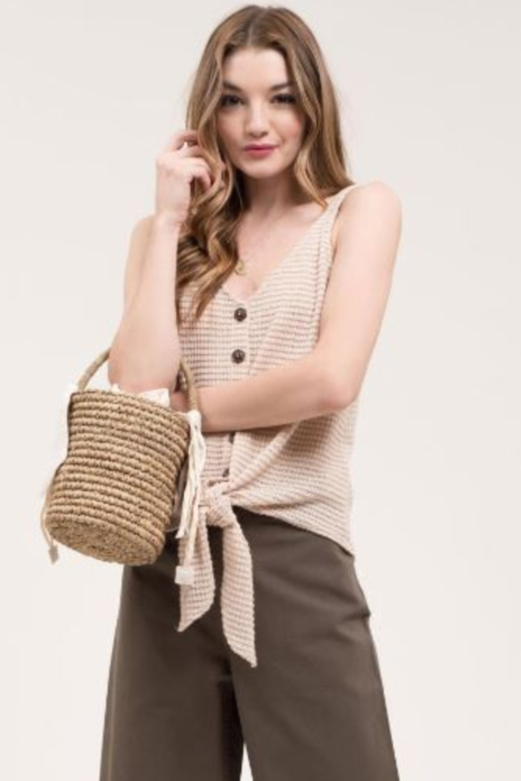 blu Pepper  Waffle Weave Tank with Wooden Buttons - Main Image
