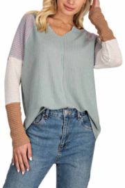 143 Story Wafle V Neck Color Block Top - Front cropped