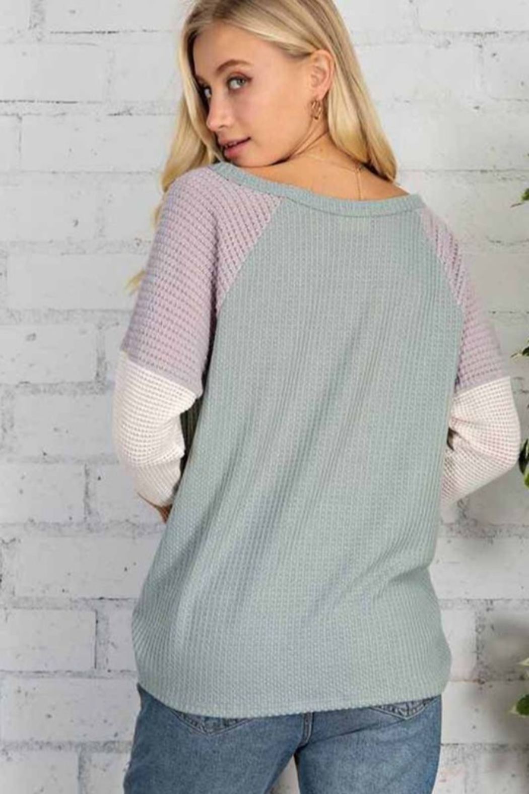 143 Story Wafle V Neck Color Block Top - Front Full Image