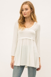 Mystree Waist Shirring Babydoll Top - Front cropped