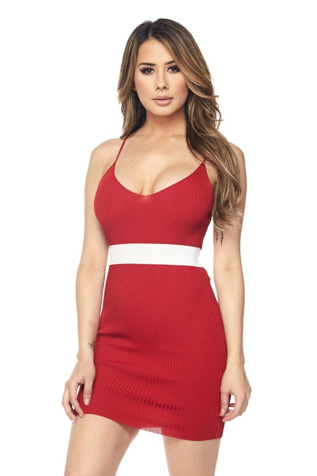 Hot & Delicious Waist Stripe Dress - Front Cropped Image