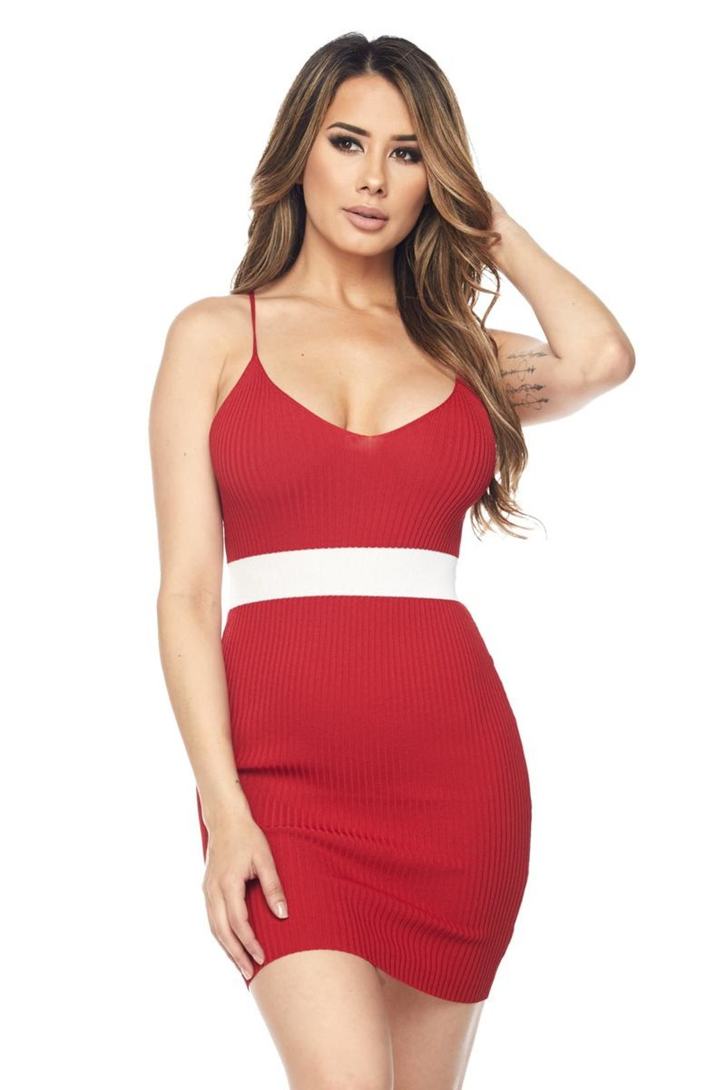 Hot & Delicious Waist Stripe Dress - Front Full Image
