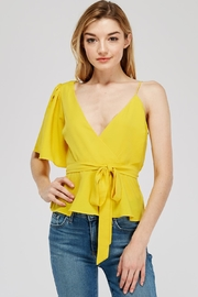 Hello Miss Waist-Tie Asymmetrical-Sleeve Top - Product Mini Image