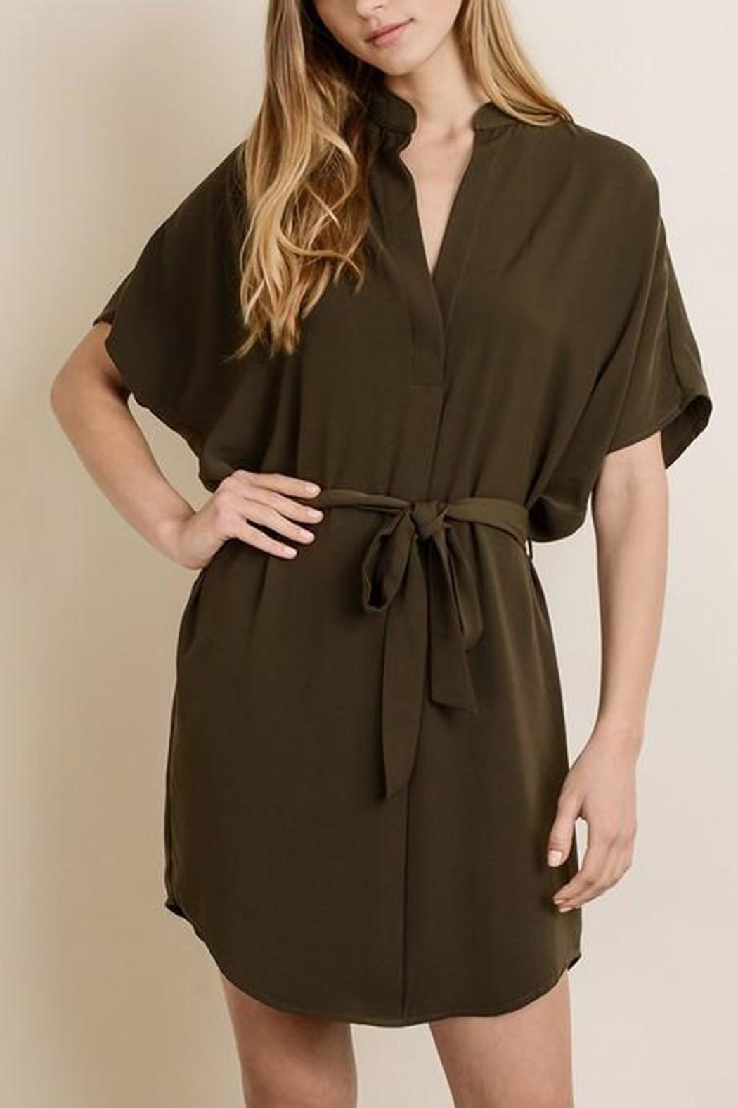 dress forum Waist-Tie Shirt Dress - Front Full Image