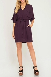 She + Sky Waist Tie Shirtdress - Front cropped