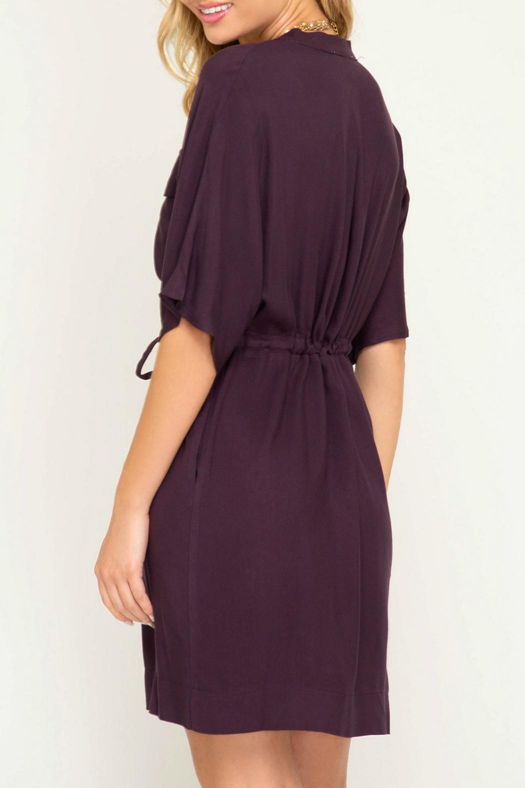 She + Sky Waist Tie Shirtdress - Back Cropped Image
