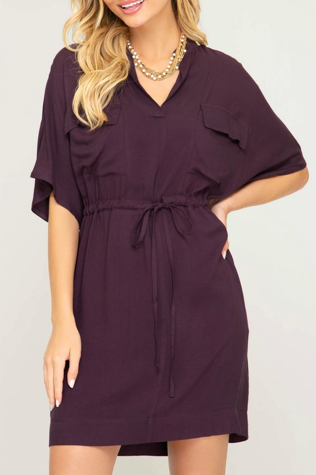 She + Sky Waist Tie Shirtdress - Front Full Image