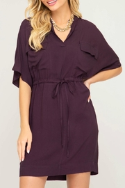 She + Sky Waist Tie Shirtdress - Front full body