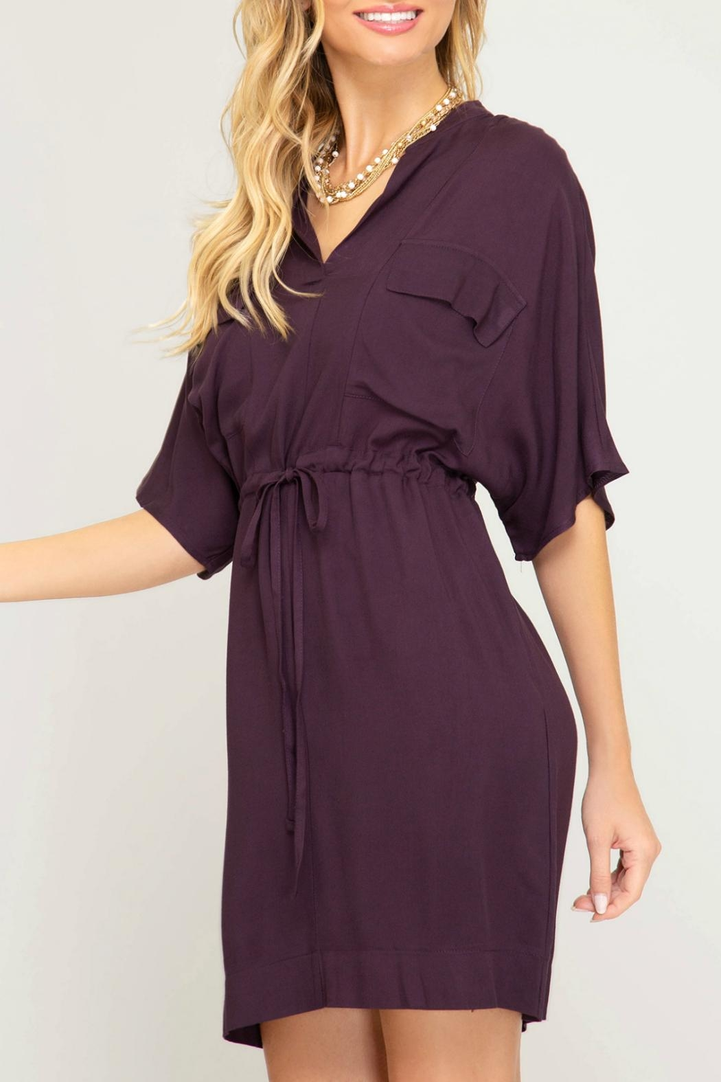 She + Sky Waist Tie Shirtdress - Side Cropped Image