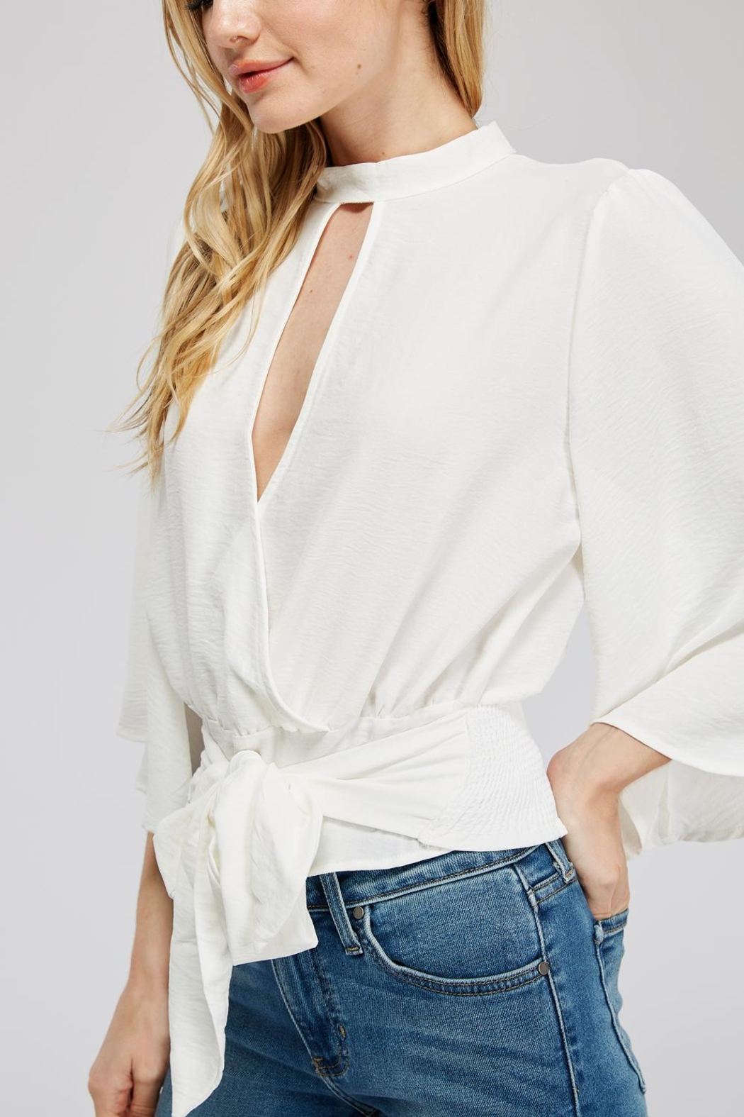 Hashtag Waist-Tie Surplice Blouse - Side Cropped Image