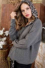 Top Style Waist Tunnel Leopard Hood FrenchTerry Top L31T809 CHARCOAL-Clone - Product Mini Image
