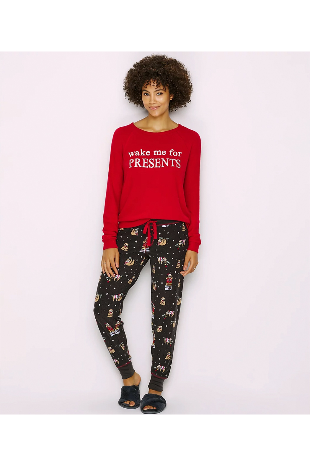 PJ Salvage Wake Me For Presents Women's Lounge Top - Front Full Image